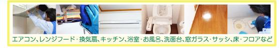 エアコン、レンジフード・換気扇、キッチン、浴室・お風呂、洗面台、窓ガラス・サッシ、床・フロアなど